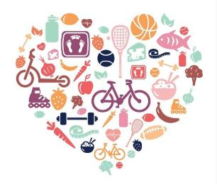A collage of signs for healthy lifestyle choices, like cycling, eating food from five food groups.
